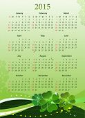 Vector illustration of American 2015 calendar for St. Patrickâ??s Day, starting from Sundays
