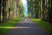 The girl walking away