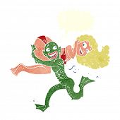 cartoon monster carrying off woman