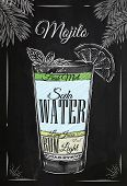 image of mojito  - Mojito cocktail in vintage style stylized drawing with chalk on blackboard - JPG