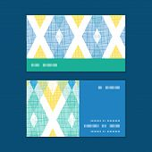 Vector colorful fabric ikat diamond horizontal stripe frame pattern business cards set