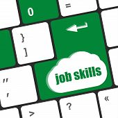 Computer Keyboard With Job Skills Key. Business Concept