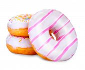 Постер, плакат: Donuts isolated on white background Tasty glazed donuts closeup Doughnut