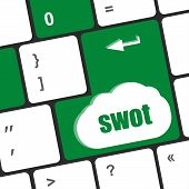 picture of swot analysis  - SWOT word on computer keyboard key button - JPG