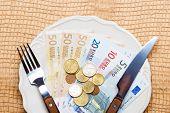 Euro Money On Kitchen Table, Coast Of Living