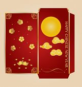 Chinese New Year Money Red Packet (Ang Pau) Design with Die cut. Vector Illustration.