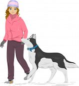 Illustration of a Girl Taking Her Siberian Husky for a Walk