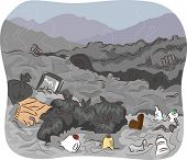 stock photo of dumpster  - Illustration of a Dump Site Filled With Unsorted Trash - JPG