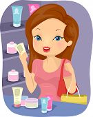 Illustration of a Girl Checking Out the Labels of the Beauty Products in a Store