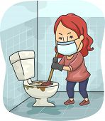 Illustration of a Girl Trying to Unclog a Toilet Bowl