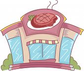 Illustration of the Facade of a Shop That Sells Steak