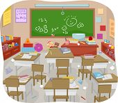 Illustration of a Messy and Disorganized Classroom