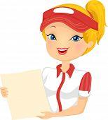 Illustration of a Female Fast Food Restaurant Employee Holding a Menu