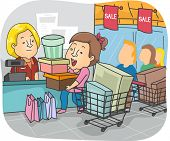 image of going out business sale  - Illustration of a Girl Taking Advantage of a Sale to Go on a Shopping Spree - JPG