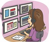 Illustration of a Female Stock Market Employee Working With Multiple Monitors
