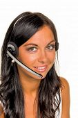 a young woman in a customer phoned customer with a headset
