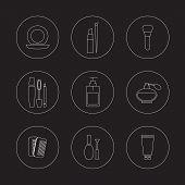 Cosmetics Icons Set.