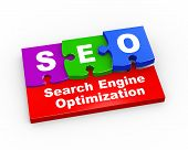 3D Seo Puzzle Pieces Illustration