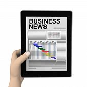 3D Hand And Business Newspaper On Tablet