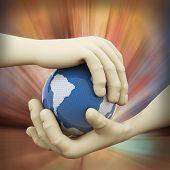 3D Closeup Of Hand Globe Illustration