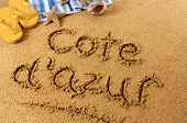 Cote D'azur Beach Writing