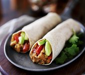 picture of avocado  - two vegan burritos with avocado - JPG
