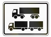 image of lorries  - German traffic sign additional panel to specify the meaning of other signs - JPG