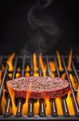 Hamburger Patty on a Hot Flaming Grill