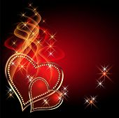picture of two hearts  - Burning two red hearts with decorative smoke - JPG