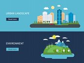 Flat design vector concept illustration with icons of environment