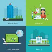 Flat design modern vector illustration concept for medical care