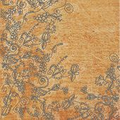 Abstract floral background with the wood texture