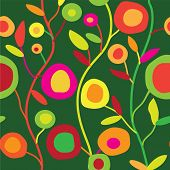 Seamless floral pattern in simple decorative style