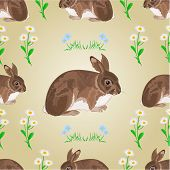 Seamless Texture Rabbit And Spring Flowers Vector