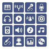 stock photo of disc jockey  - Music Icons Set - JPG