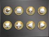 metal round flat icons , tools, arrows