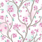 Seamless pattern with spring cherry blossoms