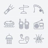 stock photo of boot camp  - Set of Outline stroke Camping icons on white background - JPG
