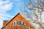 Blue Sky And Modern Country House In Spring