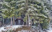 Wooden Cabin In The Forest On Wintertime