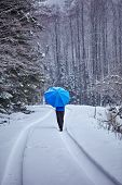 foto of trough  - Lonely man with blue umbrella walking trough the forest on the snowy road - JPG