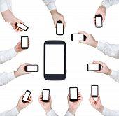 Set Of Businessman Hands With Smart Phones