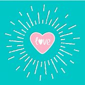 Pink Shining Heart And Word Love Inside. Sun Shining Effect Flat Design