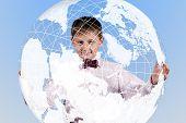 Boy Holding A Large Translucent Globe