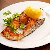 stock photo of salmon steak  - grilled salmon steak - JPG