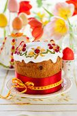 foto of easter candy  - Festive Easter cake with the candied fruits - JPG