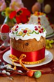 image of easter candy  - Festive Easter cake with the candied fruits - JPG