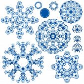 Set Of  Blue Floral Circle Patterns. Background In The Style Of Chinese Painting On Porcelain. Ornam