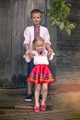 image of national costume  - Little ukrainian girl and her brother in national costumes - JPG