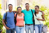 portrait of cute african american college friends on campus
